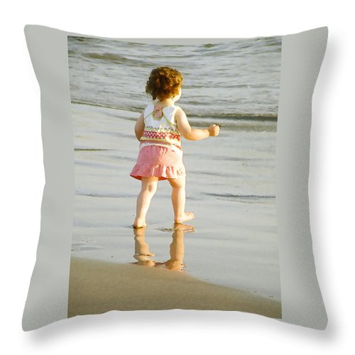 Beach Throw Pillow featuring the photograph No Fear by Margie Wildblood
