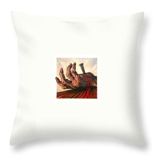 Christ Throw Pillow featuring the painting No Greater Love by John Lautermilch