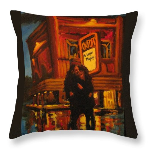 Wet Streets Throw Pillow featuring the painting No Longer Playing by John Malone