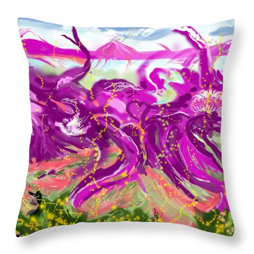 Abstract   Imaginary Seascape Purple Throw Pillow featuring the digital art No LSD Involved by Suzanne Udell Levinger