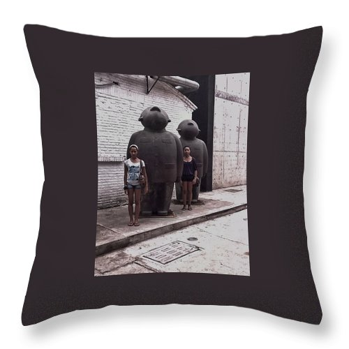 Sculpture Throw Pillow featuring the digital art No More Mao Suits by Susan Dietz