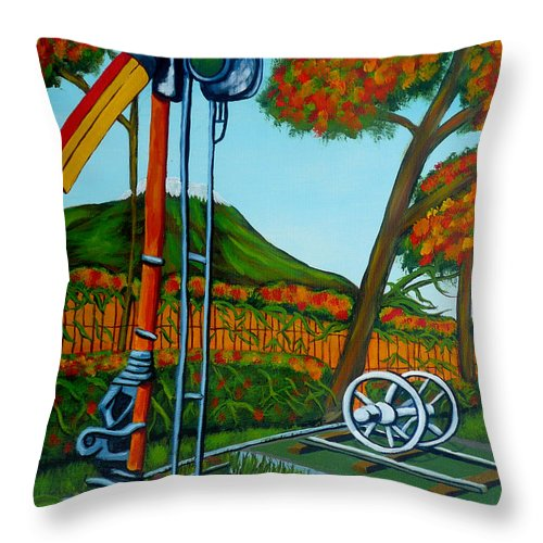 Train Throw Pillow featuring the painting No More Trains by Anthony Dunphy