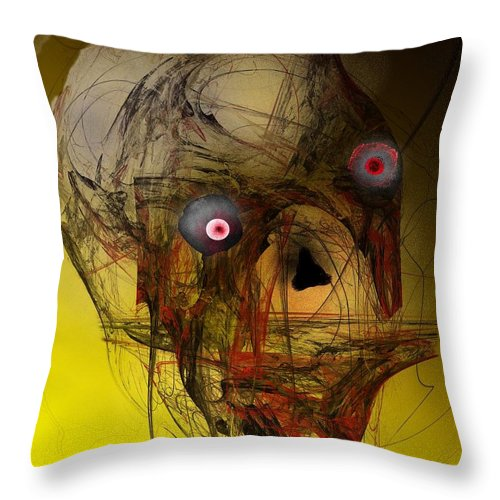 Skull Throw Pillow featuring the digital art No Mouth by David Lane