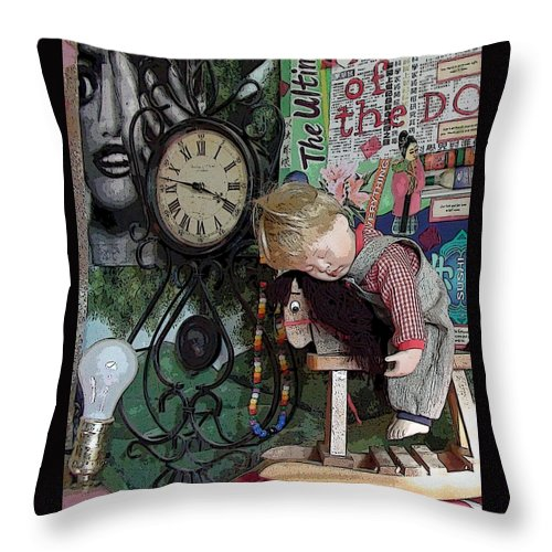 Boy Boys Figure Horse Horses Rocking Horse Clock Clocks Time Tick Tock Lamp Lamps Light Bulb Light Bulbs Time Still Life Collage Bead Beads Portrait Throw Pillow featuring the photograph No Nap For Time by Grace Rose