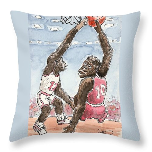 Basketbal Throw Pillow featuring the painting No No No by George I Perez