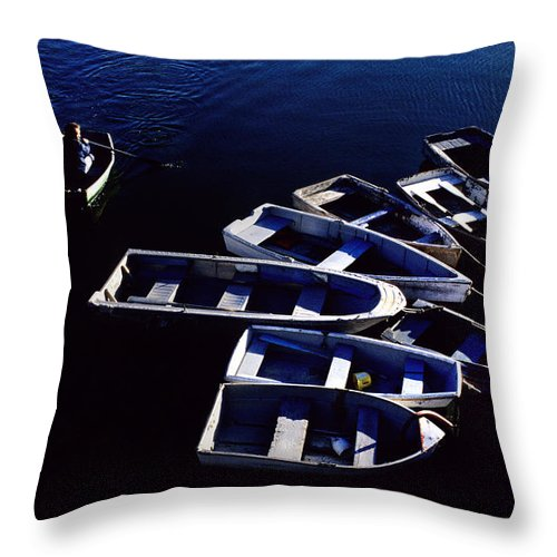 Rowing Throw Pillow featuring the photograph No Parking Rower by Steve Somerville