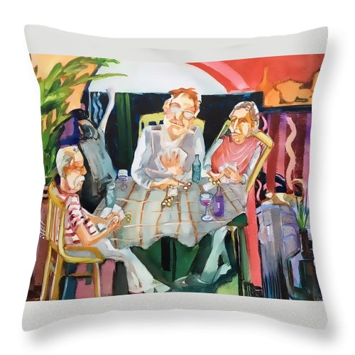 Card Game Throw Pillow featuring the painting No Peeking by Shane Guinn