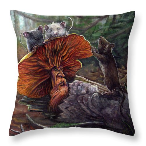 Mushroom Throw Pillow featuring the painting No Recourse by Carol Phillips