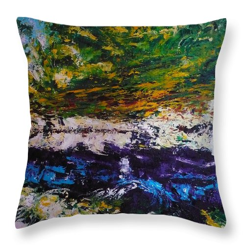 Reflection Throw Pillow featuring the painting No Title by Ericka Herazo