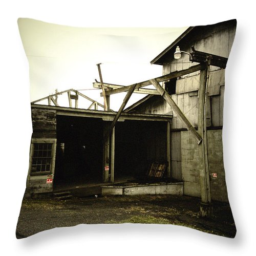 Warehouse Throw Pillow featuring the photograph No Trespassing by Tim Nyberg