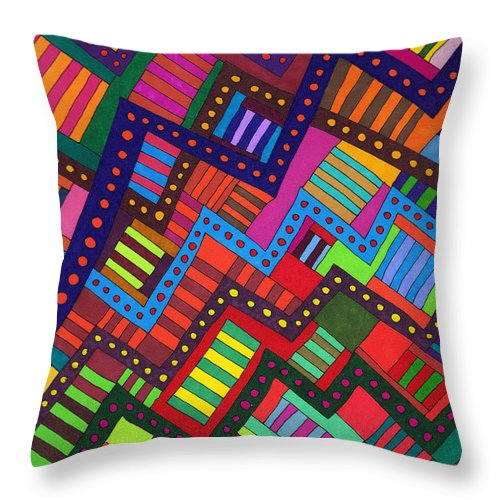 Abstract Multicolor Stripes Geometric Susan Epps Oliver Original Throw Pillow featuring the drawing No Way Through by Susan Epps Oliver