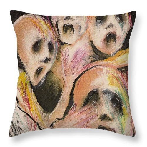 War Cry Tears Horror Fear Darkness Throw Pillow featuring the mixed media No Words by Veronica Jackson
