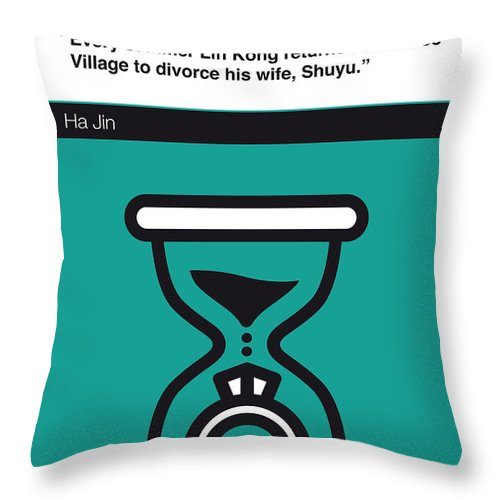 Ha Jin Throw Pillow featuring the digital art No029-my-waiting-book-icon-poster by Chungkong Art
