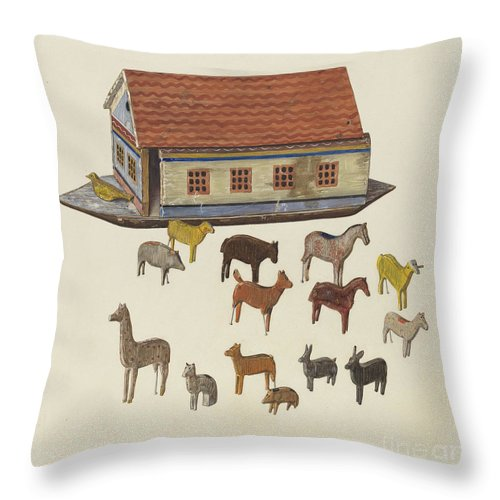 Throw Pillow featuring the drawing Noah's Ark And Animals by Ben Lassen