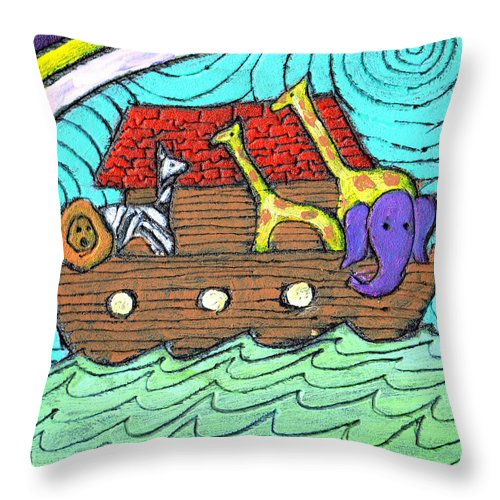 Children's Throw Pillow featuring the painting Noahs Ark Two by Wayne Potrafka