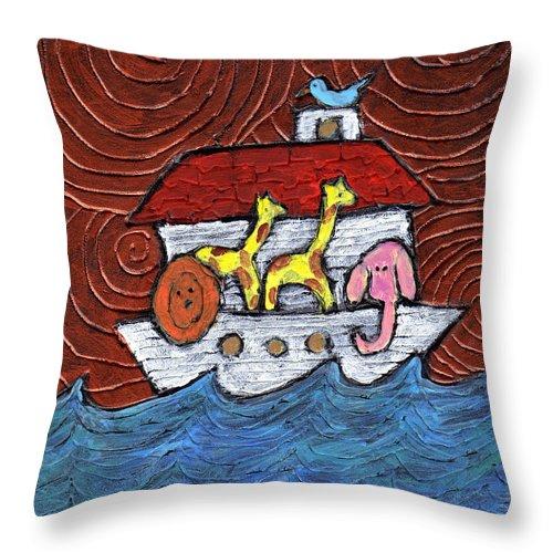 Noah Throw Pillow featuring the painting Noahs Ark With Blue Bird by Wayne Potrafka