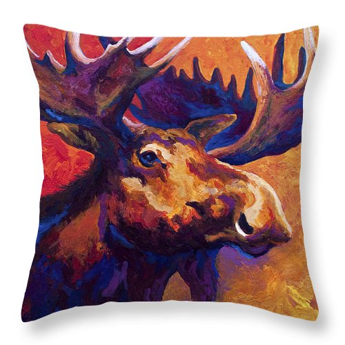Moose Throw Pillow featuring the painting Noble Pause by Marion Rose