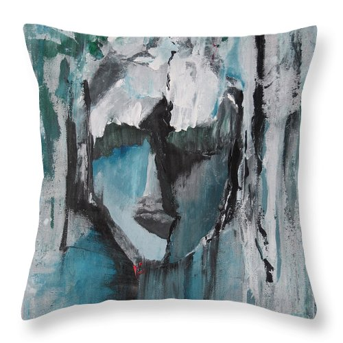 Abstract Acrylic Blue Darkestartist Nobody Portrait Darkest Artist Face Throw Pillow featuring the painting Nobody by Darkest Artist