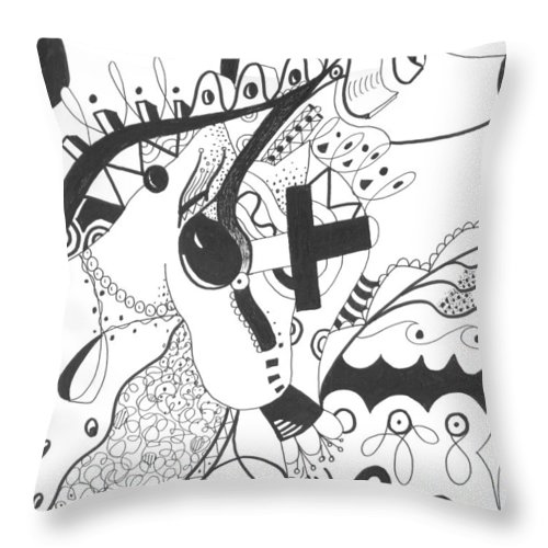 Animal Throw Pillow featuring the drawing Nobody Really Knows by Helena Tiainen