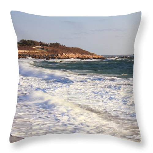 Lighthouse Throw Pillow featuring the photograph Nobska Point Seascape by Roupen Baker
