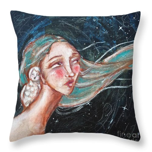 Whimsical Throw Pillow featuring the mixed media Noctua by Allison Weeks Thomas