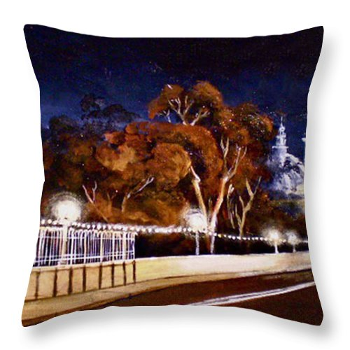 Cityscapes Throw Pillow featuring the painting Nocturnal Cabrillo by Duke Windsor