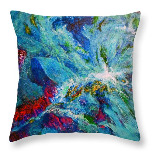 Abstract Throw Pillow featuring the painting Nocturnal by Michael Durst