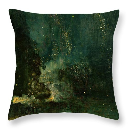 Nocturne Throw Pillow featuring the painting Nocturne In Black And Gold - The Falling Rocket by James Abbott McNeill Whistler