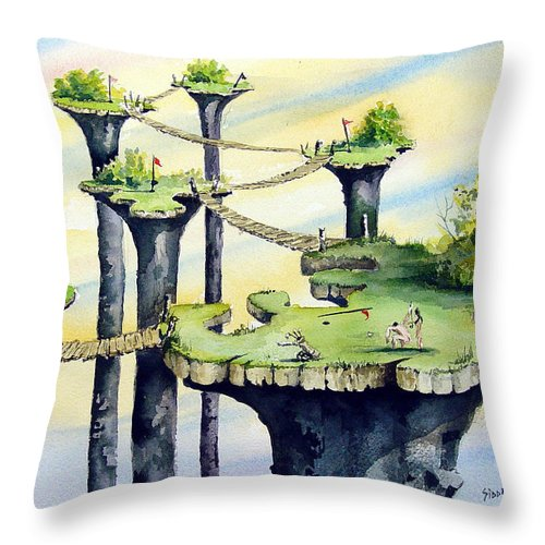 Golf Throw Pillow featuring the painting Nod Country Club by Sam Sidders