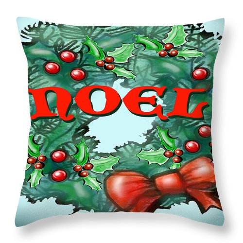 Noel Throw Pillow featuring the greeting card Noel by Kevin Middleton