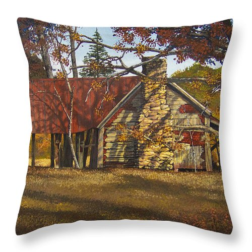 Landscape Throw Pillow featuring the painting Nolan Corners Farmhouse by Peter Muzyka
