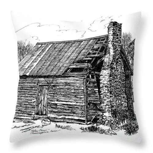 Landscape Throw Pillow featuring the drawing Nolan Corners Sharecropper's Shack by Peter Muzyka