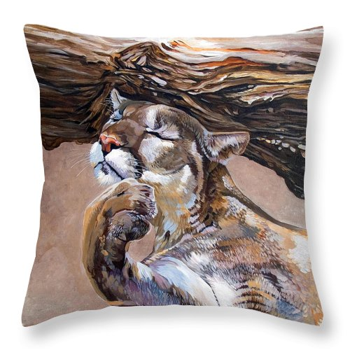 Catamount Throw Pillow featuring the painting Nonchalant by J W Baker
