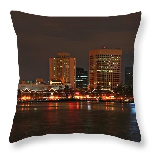 Norfolk Throw Pillow featuring the photograph Norfolk Cityscape by Tim Wilson