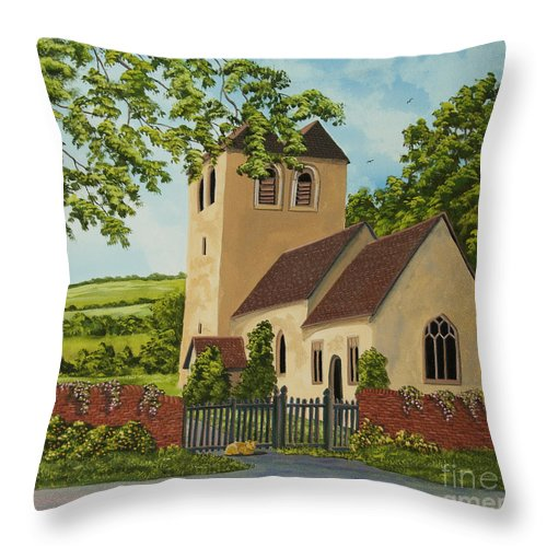 Church Throw Pillow featuring the painting Norman Church In Fingest by Charlotte Blanchard