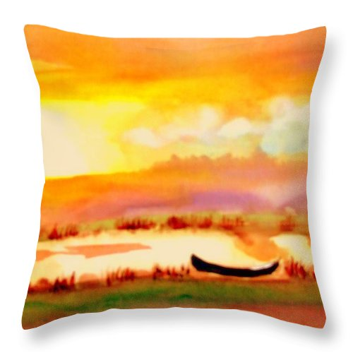 France Throw Pillow featuring the painting Normandy Fields by Rusty Gladdish
