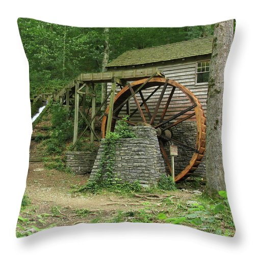 Grist Mill Throw Pillow featuring the photograph Rice Grist Mill II by Douglas Stucky