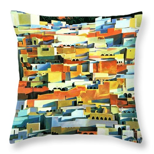 Town; Urban; Flat Roofs; Roof; Africa; Moorish Architecture; African; Townscape; North Africa; Colorful; House; Houses Throw Pillow featuring the painting North African Townscape by Robert Tyndall