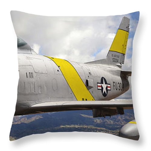 F-86 Sabre Throw Pillow featuring the photograph North American F-86 Sabre by Larry McManus