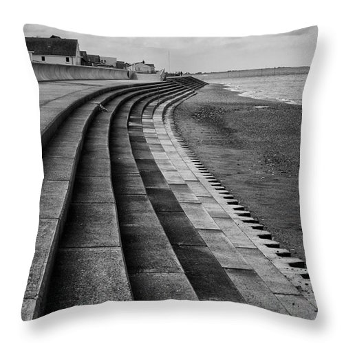 Monochromephotography Throw Pillow featuring the photograph North Beach, Heacham, Norfolk, England by John Edwards