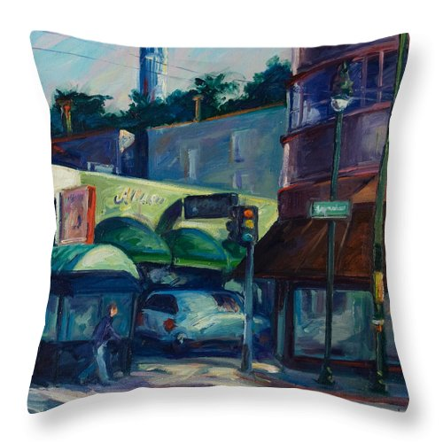 Cityscape Throw Pillow featuring the painting North Beach by Rick Nederlof
