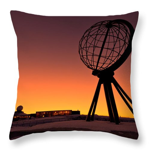 Longitude Throw Pillow featuring the photograph North Cape Norway At The Northernmost Point Of Europe by U Schade