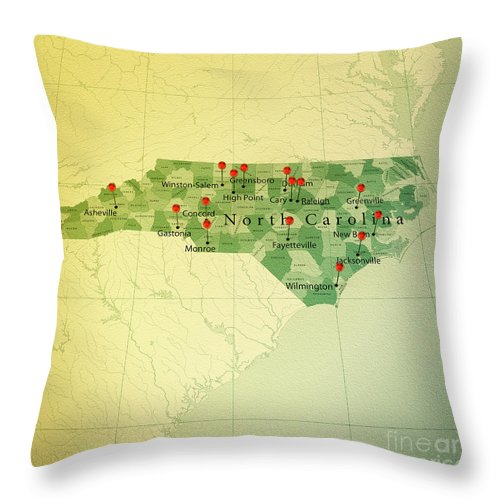 Cartography Throw Pillow featuring the digital art North Carolina Map Square Cities Straight Pin Vintage by Frank Ramspott