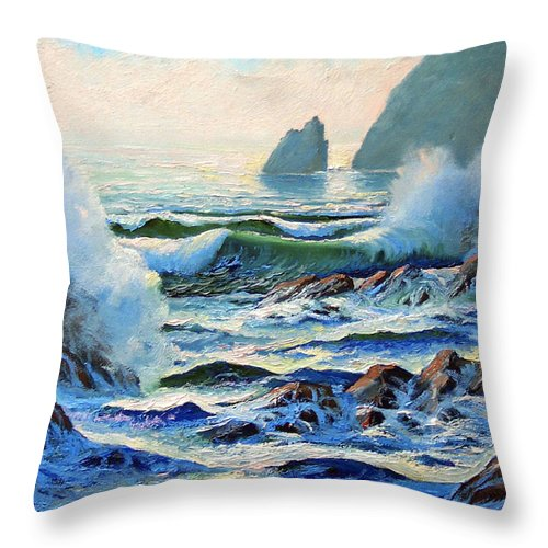Seascape Throw Pillow featuring the painting North Coast Surf by Frank Wilson