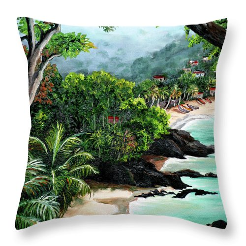 Caribbean Painting Tropical Painting Throw Pillow featuring the painting North Coast Tobago by Karin Dawn Kelshall- Best
