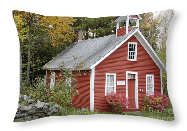 New Hampshire Throw Pillow featuring the photograph North District School House - Dorchester New Hampshire by Erin Paul Donovan