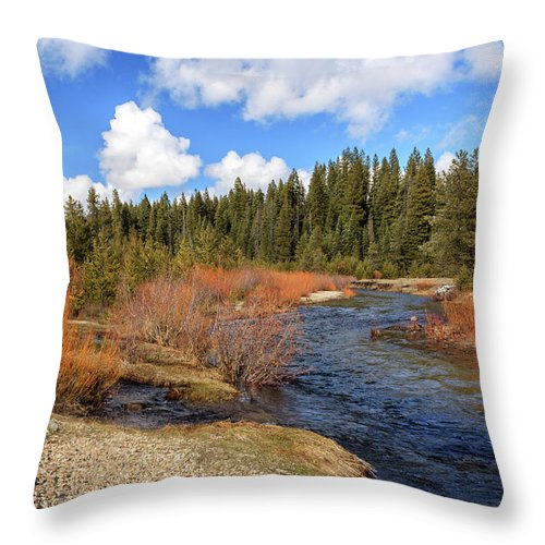 Creek Throw Pillow featuring the photograph North Fork Deer Creek by James Eddy