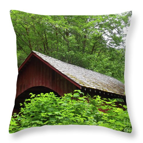 North Fork Yachats Bridge 1 Throw Pillow featuring the photograph North Fork Yachats Bridge 1 by Methune Hively