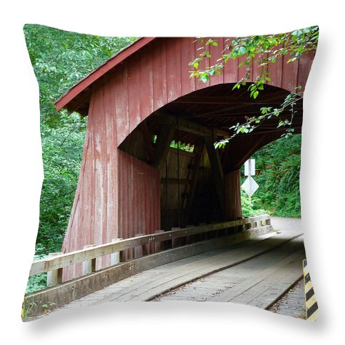 North Fork Yachats Bridge 1 Throw Pillow featuring the photograph North Fork Yachats Bridge 2 by Methune Hively