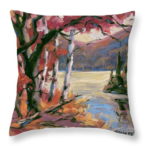 Art Throw Pillow featuring the painting North Lake By Prankearts by Richard T Pranke